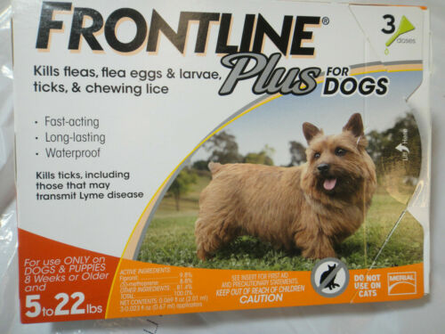 Frontline Plus Flea & Tick Treatment for Small Dogs 5-22 lbs. 3 Doses Supply