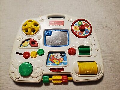 1993 Fisher Price Crib Activity Center Baby Toy Busy Box #1175 Straps Vintage