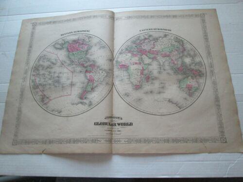 "1867 ANTIQUE MAP, 1868 A.J. JOHNSON ATLAS,  ""GLOBULAR WORD""  (HEMISPHERES)"