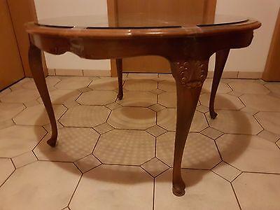 50er Jahre Tisch Chippendale, Nußbaum, Durchmesser 105 cm, Höhe 64 cm