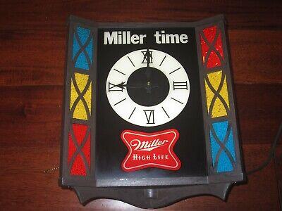 Vintage MILLER TIME MILLER HIGH LIFE BEER Lighted Clock Sign WORKS MADE IN USA