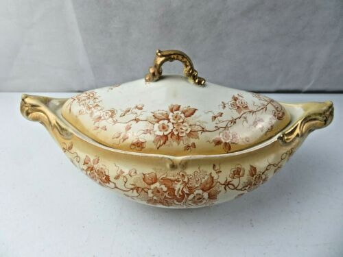Antique Soup Tureen Covered Dish W/Lid Cliff England Gold Accent