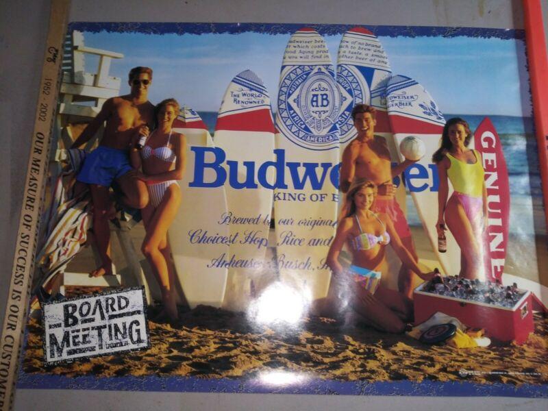 1989 Budweiser Board Meeting Surfboard Beach Poster 20x28