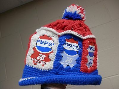 Pepsi-Cola 1898 1973 75th Anniversary soda can hat knit tassle VTG 1970's VGC