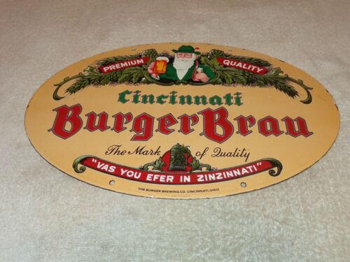 "VINTAGE BURGER BRAU BEER BREWING CINCINNATI 16.5"" PORCELAIN METAL GAS & OIL SIGN"