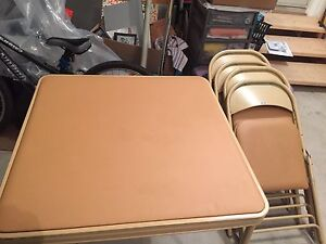 Card Table and Set of Four Folding Chairs