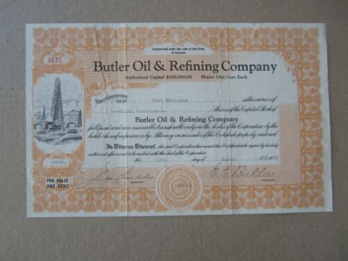 Old 1938 - BUTLER Oil & Refining Co. - Stock Certificate - COLORADO