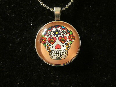 HALLOWEEN SKULL HEART FLOWER EYES PENDANT NECKLACE 16