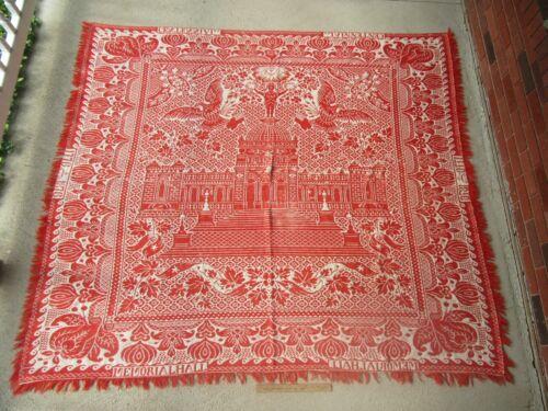 Antique 1776- 1876 Centennial Red Philadelphia Memorial Hall Wool Coverlet