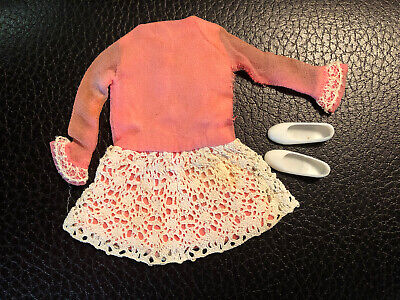 1967 Vintage Barbie Skipper Skooter #1949 ALL PRETTIED UP Pink Dress~lace~shoes