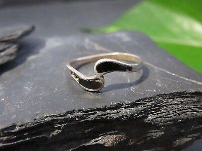 Eleganter 925 Silber Ring Schwarz Email Beschädigt Vintage Retro Klein Schlicht