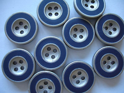 5 Knöpfe mattsilber, blau 17mm 4-Loch K134