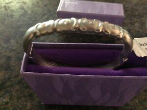 New Buckingham hinged silver diamante studded bangle/bracelet in gift box