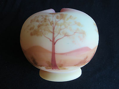 Fenton Hand Painted Country Scene Burmese Satin Rose Bowl