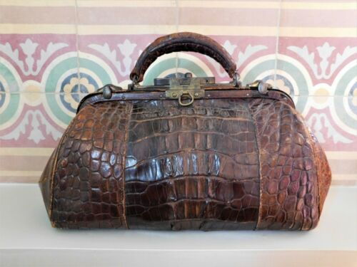 RARE 1910ca ANTIQUE CROCODILE LEATHER DOCTOR BAG MEDICAL DATED NUMBERED ENGLAND