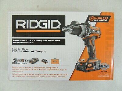 Ridgid R86116k 18v Li-ion Cordless Brushless 12 Compact Hammer Drill Kit