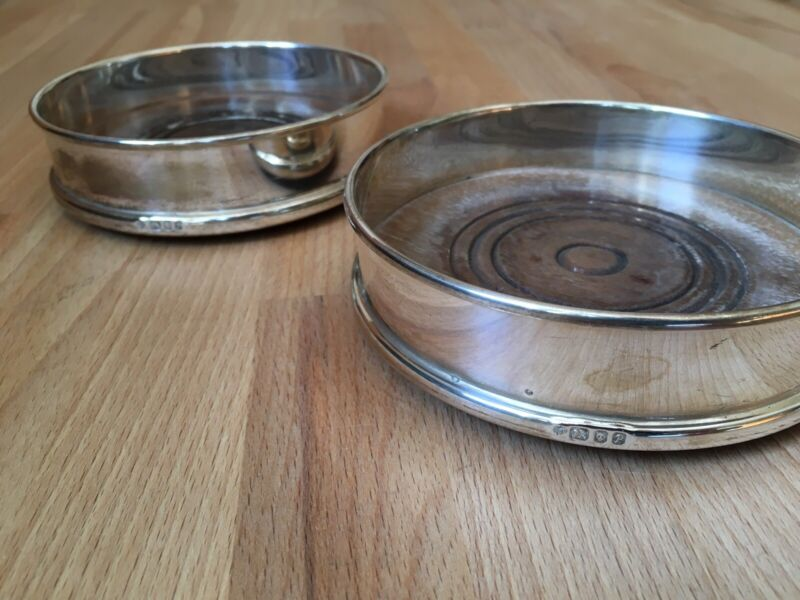 Pair Of Solid Sterling Silver Mounted Magnum / Wine Bottle Coasters 125mm wide