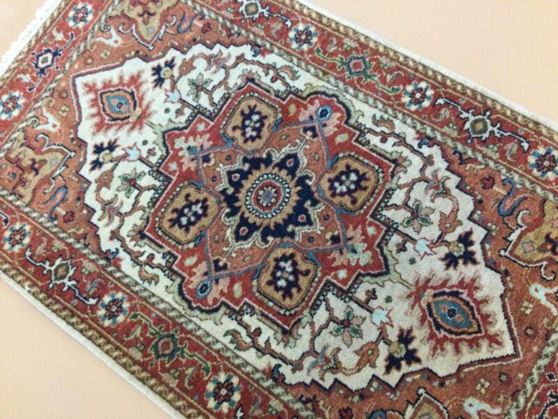 "2'.6"" X 4'.2"" Beige Rust Fine Geometric Hand Knotted Oriental Area Rug Wool"
