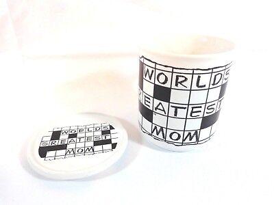Crossword Puzzle Mug Worlds Greatest Best Mom Trivet Lid 1988 Coffee Cup