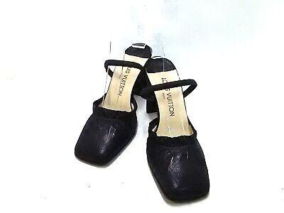 Auth LOUIS VUITTON Black Leather IR0969 Sandal Women