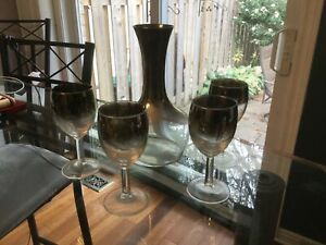 Smoked wine glasses and decanter