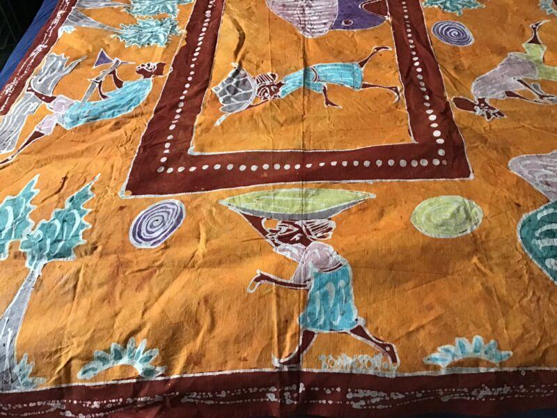 Vintage African Batik Wax Canvas Tapestry Signed Tribal Artwork 87x54