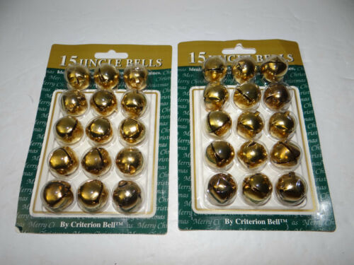 Lot of 30 Gold Metal Jingle Bells Criterion Bell Made in USA Crafts Christmas