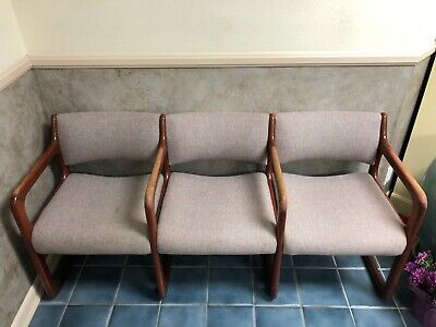 Reception Room Cherry Tweed Fabric Bench Chairs With 2 Side Tables
