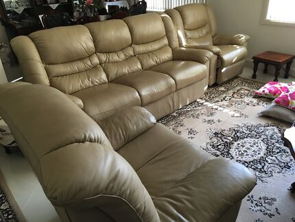 Tan leather couch Beverley Park Kogarah Area Preview