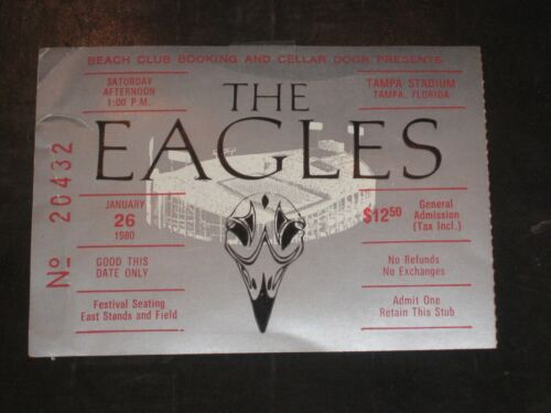 THE EAGLES 1980 CONCERT TICKET STUB*TAMPA STADIUM**1/26/80**BEYOND RARE**