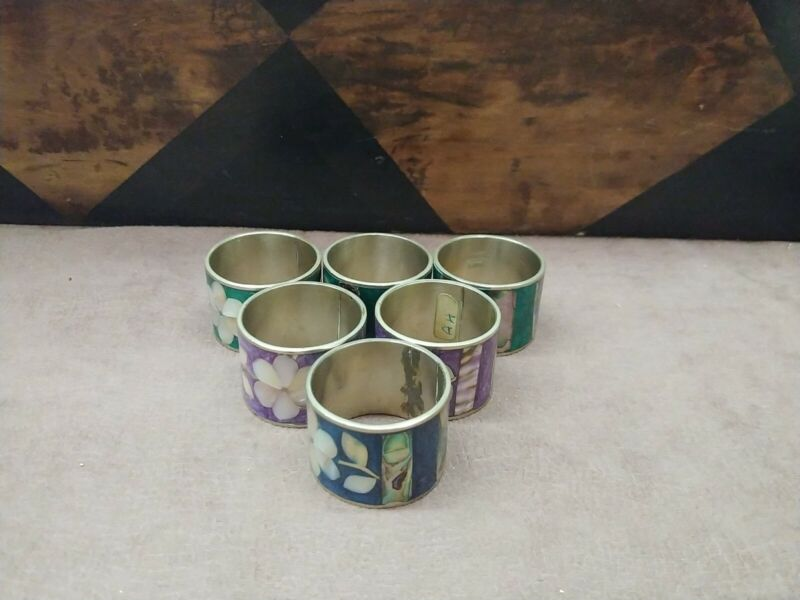 Mexico Alpaca Shell Napkin Rings Set of 6 Floral Abalone Shell Design