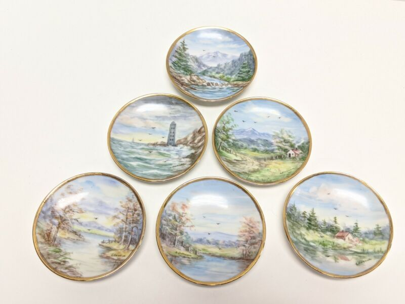 """6 LIMOGES HAND PAINTED SIGNED 4"""" SCENIC CABINET WALL PLATES E. DUNCAN"""