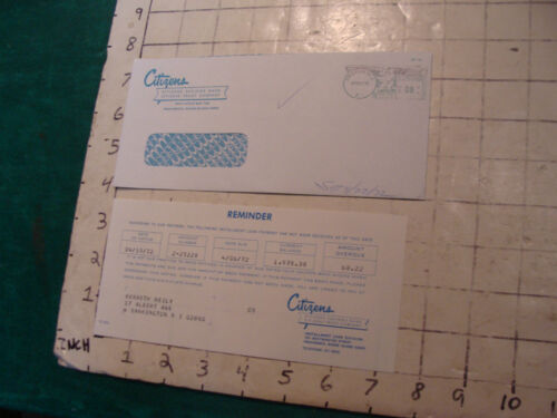 HIGH GRADE vintage paper: CITIZENS BANK reminder amount OVERDUE 1972