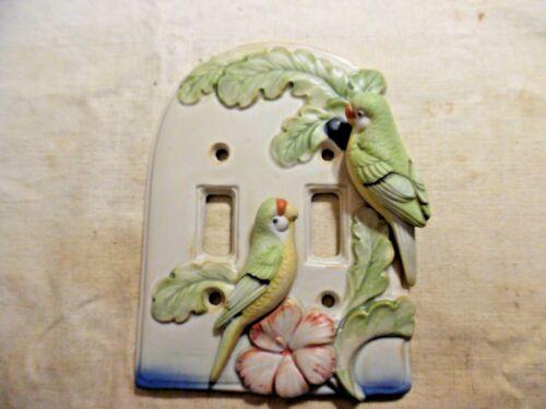 Vintage Switch Plate Ceramic Parrots