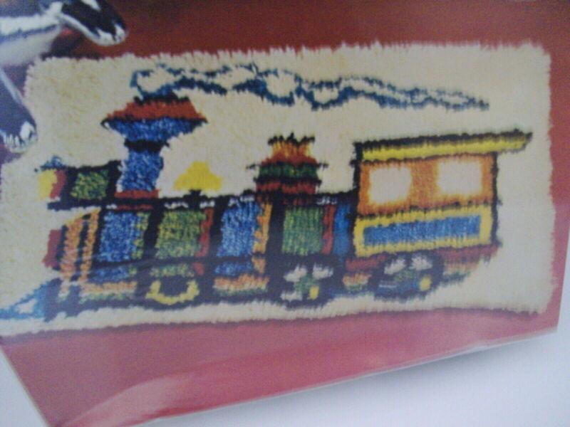 "Vogart Rug Latch Hook Kit: Train 20"" X 27"" Vintage RARE Only One on Ebay NIB"