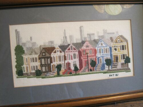 "Finished Framed MATTED ROWHOUSES/CITYSCAPE CROSS STITCH-13"" X 9"""