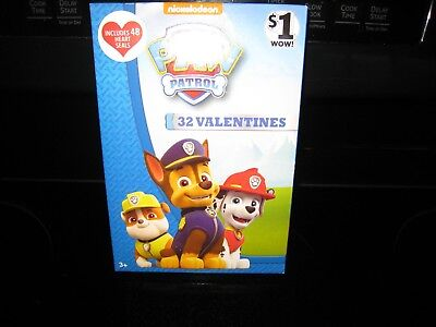 PAW PATROL 32 VALENTINES DAY CARDS~ INCLUDES 48 HEART SEALS~8 FUN DESIGNS~