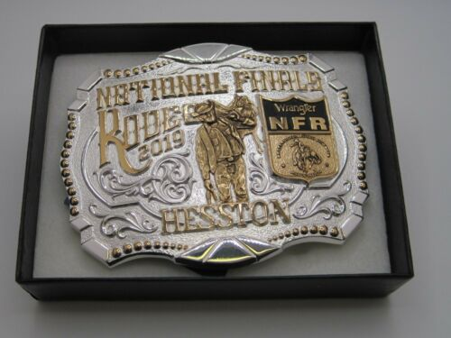 National Finals Rodeo 2019 Hesston Gold & Silver Two-Toned Adult Belt Buckle