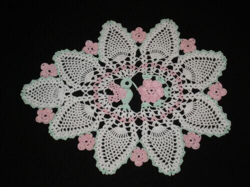 Handmade Doily Crocheted  Hummingbird rose & Flowers Thread