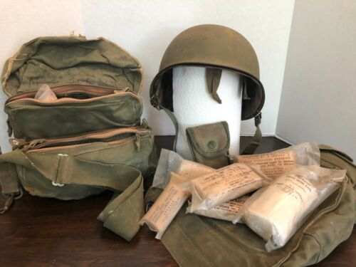 US M1 Helmet Swivel Bail rear Seam with Westinghouse Liner & extras