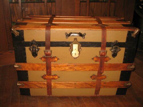"Antique Canvas Steamer Trunk 1890-1910 Canvas & Wheels 29"" wide Natural Interior"