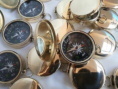 Brass Vintage Pocket Compass 45mm Lot Of 10 Pcs Maritime Collectible Decorative