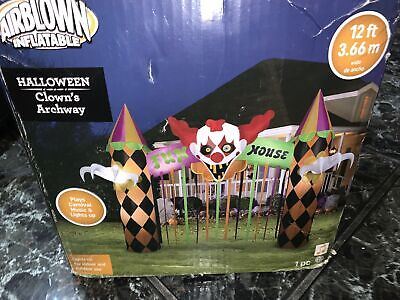 Huge 12' Lighted Clown Archway Halloween Inflatable Airblown Carnival