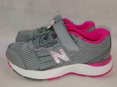 New Balance 680 Shoes Kids Girls Size 12.5 Extra Wide Gray/Pink Sneakers