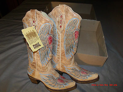 Corral Ladies Cowboy Boots sz. 5 & 6 Antique Saddle/Blue Jean Wing & Heart A1976, used for sale  Douglasville