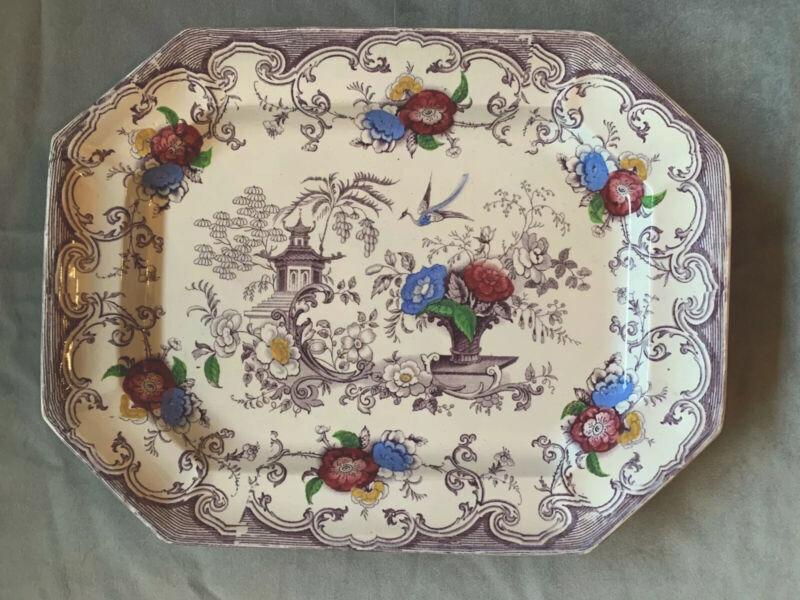 Antique FLORILLA Purple Polychrome Challinor Staffordshire Transferware Platter