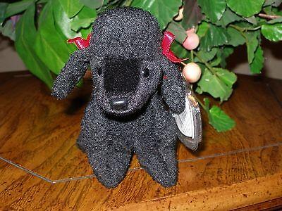 """TY~GIGI Black Poodle Dog~6"""" Beanie Baby~Mint with Mint Tag~R"""