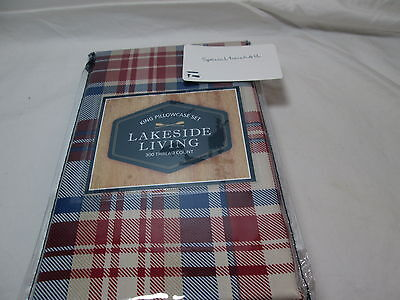 New Lakeside Living 2 King Pillowcases 300 TC ~ Navy, Ivory & Red Plaid - Red King Pillowcases