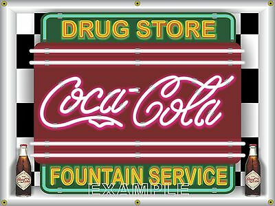 COCA COLA DRUG STORE FOUNTAIN SERVICE NEON STYLE PRINTED BANNER SIGN ART 4' X 3'