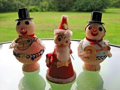 3 PC Vintage 1950's Christmas Decorations Paper Mache Snowmen Santa Claus Japan